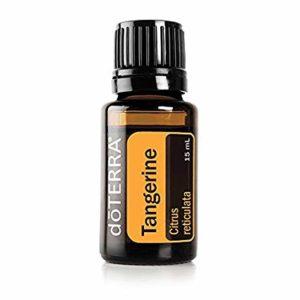 Tangerine essential oil bottle.
