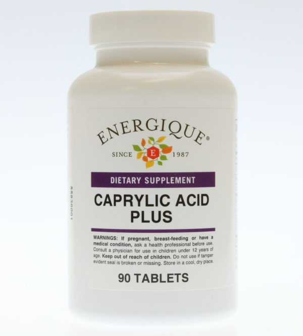 bottle of Caprylic Acid Plus tablets.