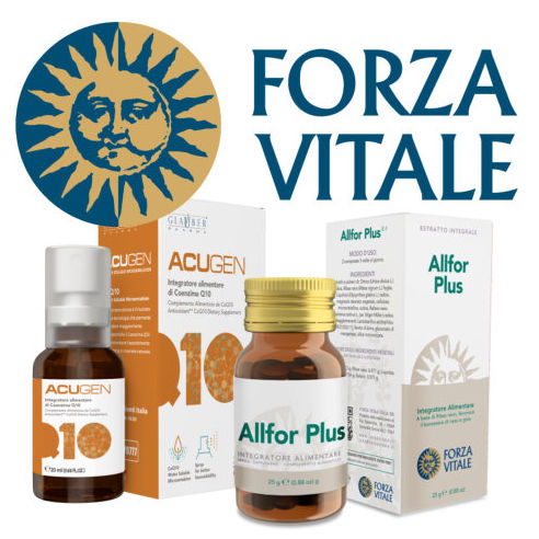 Forza Vital logo with products