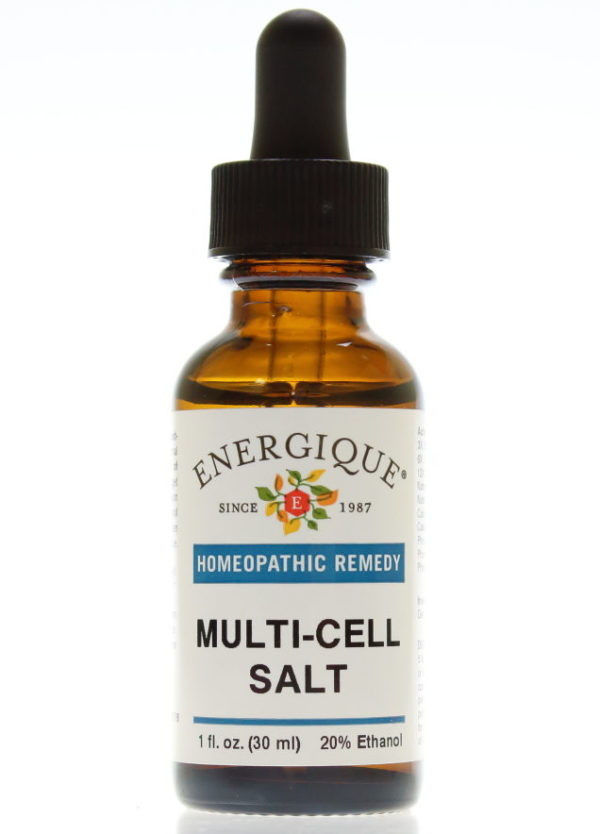 brown glass dropper bottle of Multi Cell Salt.