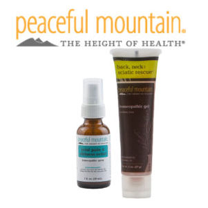 Peaceful Mountain logo with products