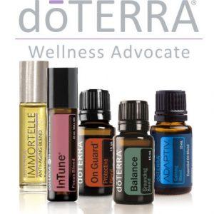 doTERRA Essential Oils logo and oils
